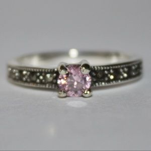 Pink Ice and Marcasite Sterling Ring .925 NWT